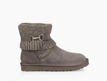 UGG Femme Boots Purl Strap Bottes Classic 60% CHARCOAL